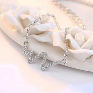 Jewelry - NEW 925 Sterling Silver Diamond Heartbeat Necklace
